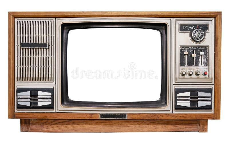 Antikes Holzkistefernsehen mit herausgeschnittenem Rahmenschirm stockbilder