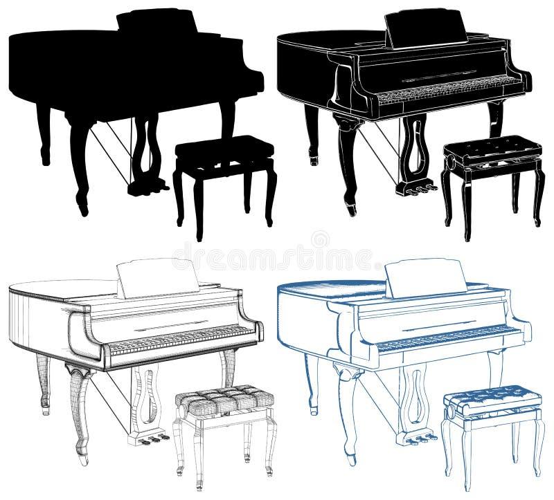 Antikes Klavier lokalisiert auf weißem Hintergrund-Vektor lizenzfreie abbildung