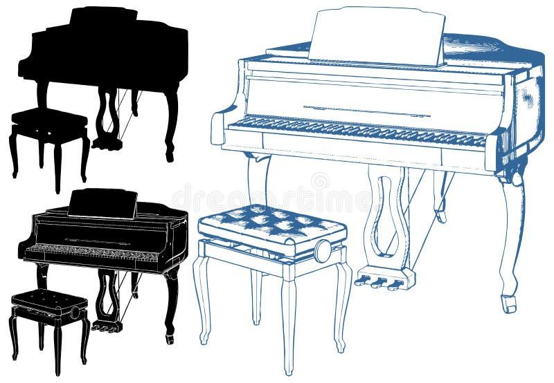 Antikes Klavier lokalisiert auf weißem Hintergrund-Vektor vektor abbildung
