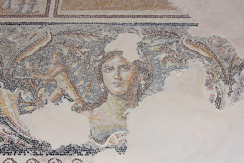Antikes Mosaik, Nationalpark Zippori, Galiläa, Israel stockbild