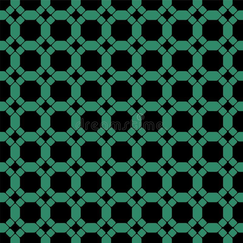 Antikes nahtloses grünes Achteckkreuz der runden Ecke des Hintergrundes stock abbildung