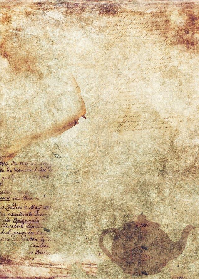 Antikes Papier mit Schreiben und Teekanne lizenzfreie stockbilder
