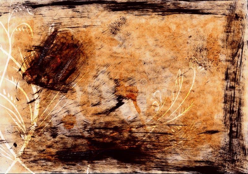 Antikes Papier u. Blumenhintergrund stockfotografie