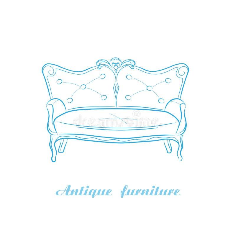 Antikes Sofa lizenzfreie abbildung
