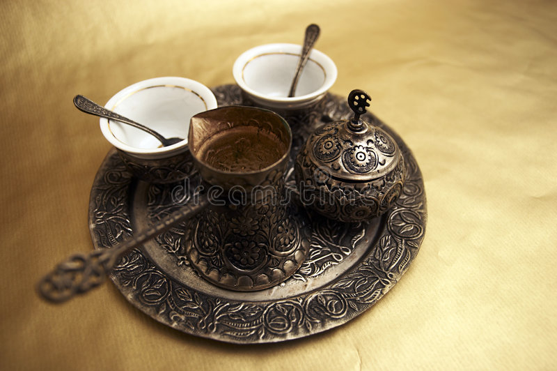 Antikes türkischer Kaffee-Set stockfotografie