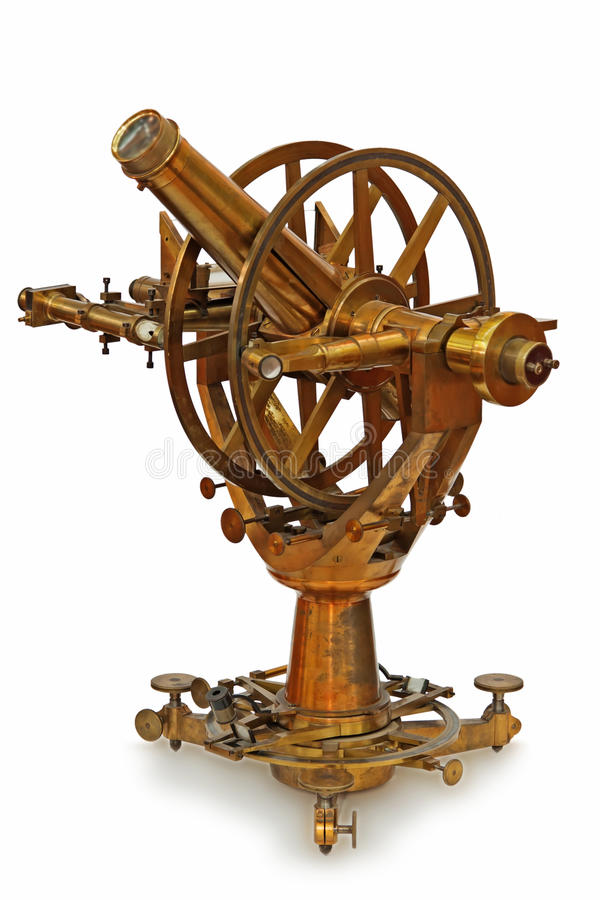 Antikes teleskopisches Messinstrument lizenzfreies stockbild