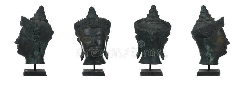 antikt bronsbuddha huvud arkivbild