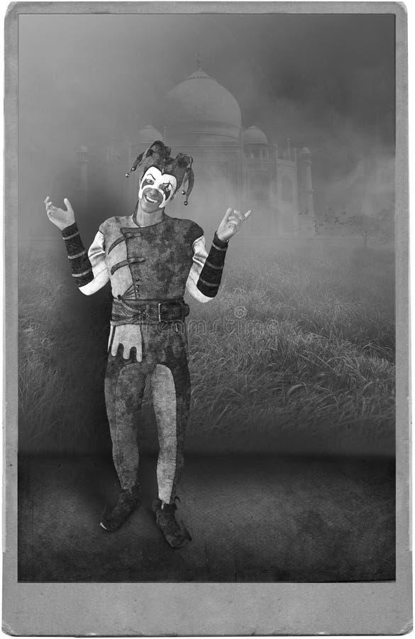 Antikt fotografi Jester Clown för tappning vektor illustrationer