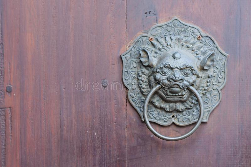 Antikt kinesiskt lejonhandtag på trädörr med kopieringsutrymme royaltyfria bilder