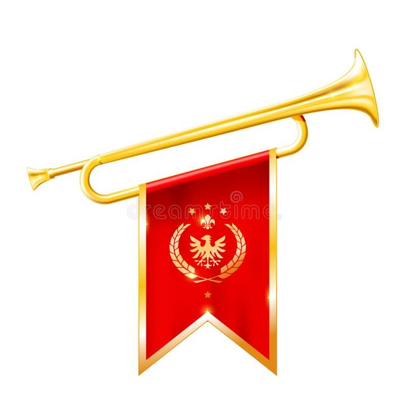 Antikt kungligt horn - trumpet med den triumferande flaggan, triumf royaltyfri illustrationer