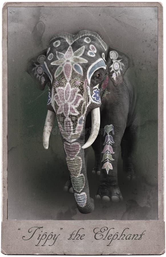 Antikt tappningcirkuskort, elefant, gyckel vektor illustrationer