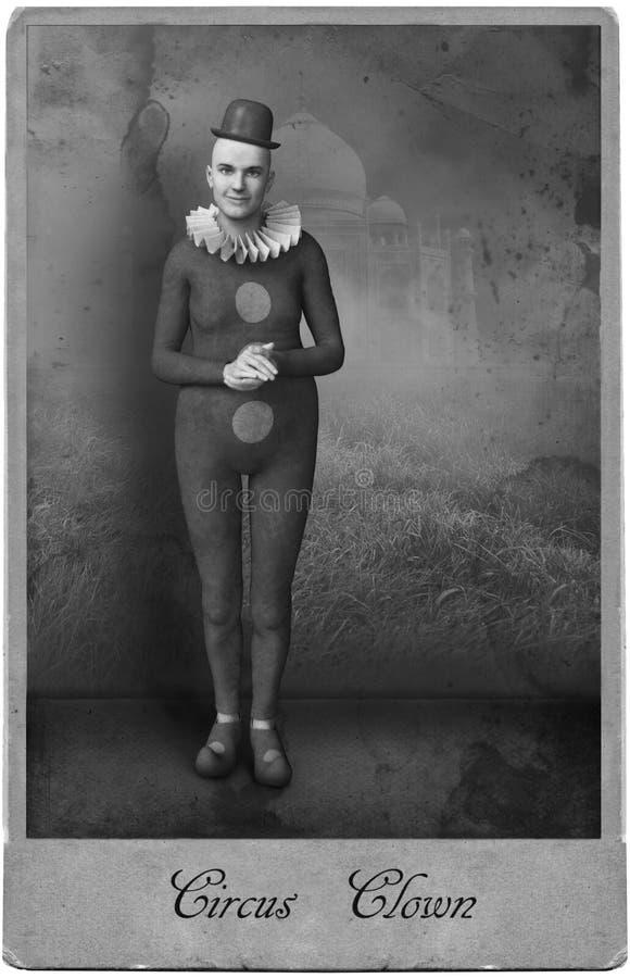 Antikt tappningfotografi, cirkusclown, karneval arkivbilder