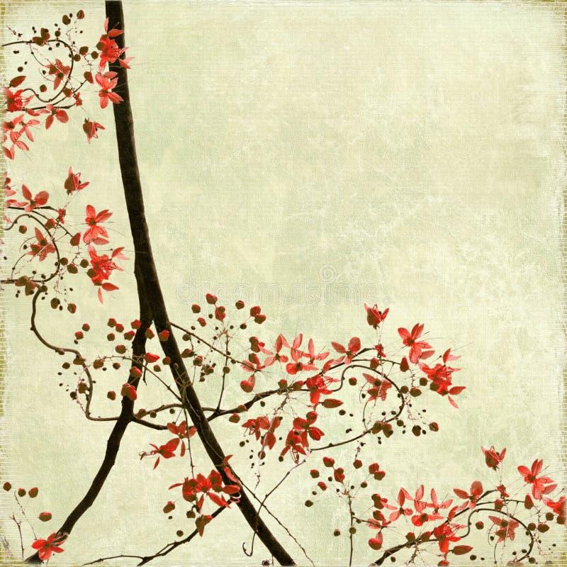 antikt tilltrasslat blomningkantpapper stock illustrationer