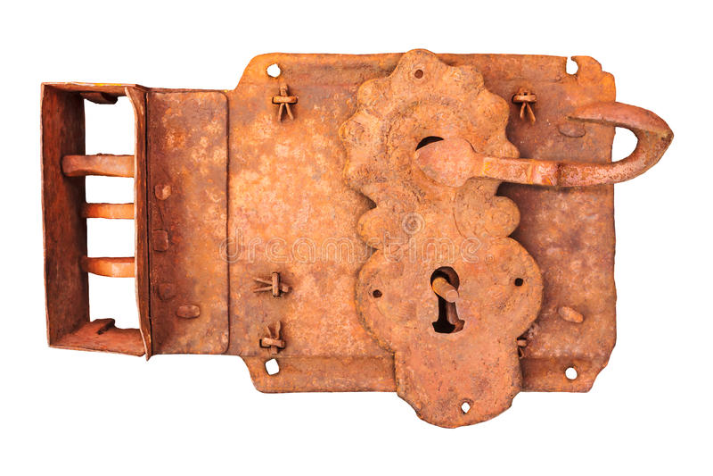 Antikvitet rostat lås som isoleras på vit royaltyfria foton
