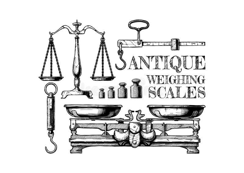 Antikvitet som väger fjäll stock illustrationer