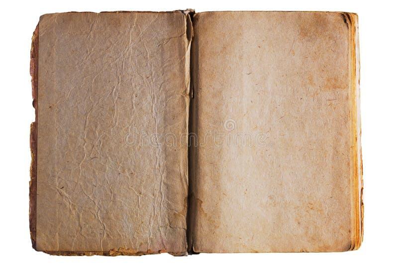 Antikvitet texturerade öppnade boksidor royaltyfri fotografi