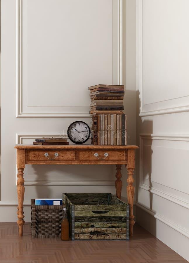 Antikvitetböcker och klocka på tabellen i vitt rum arkivfoton