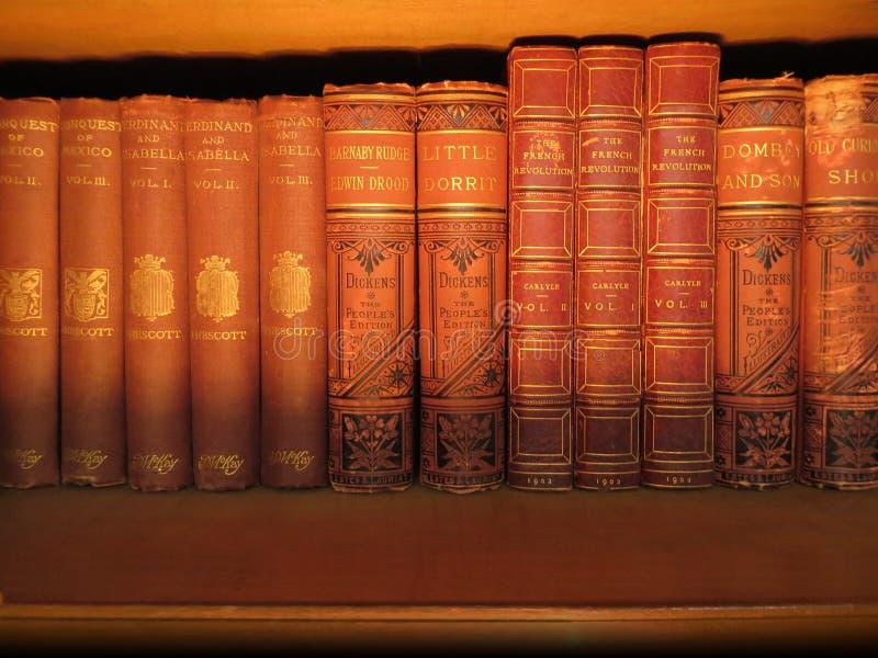 Antikvitetböcker på en hylla royaltyfri fotografi