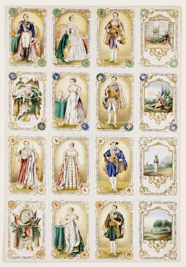 antikviteten cards fransk nobilityhandel arkivbild