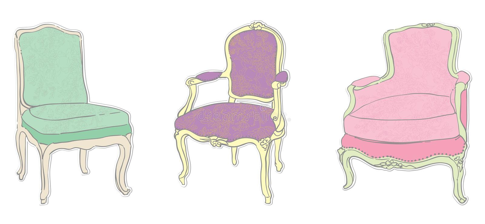 antikviteten chairs rokokoetiketter royaltyfri illustrationer