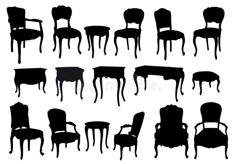 antikviteten chairs tabeller vektor illustrationer