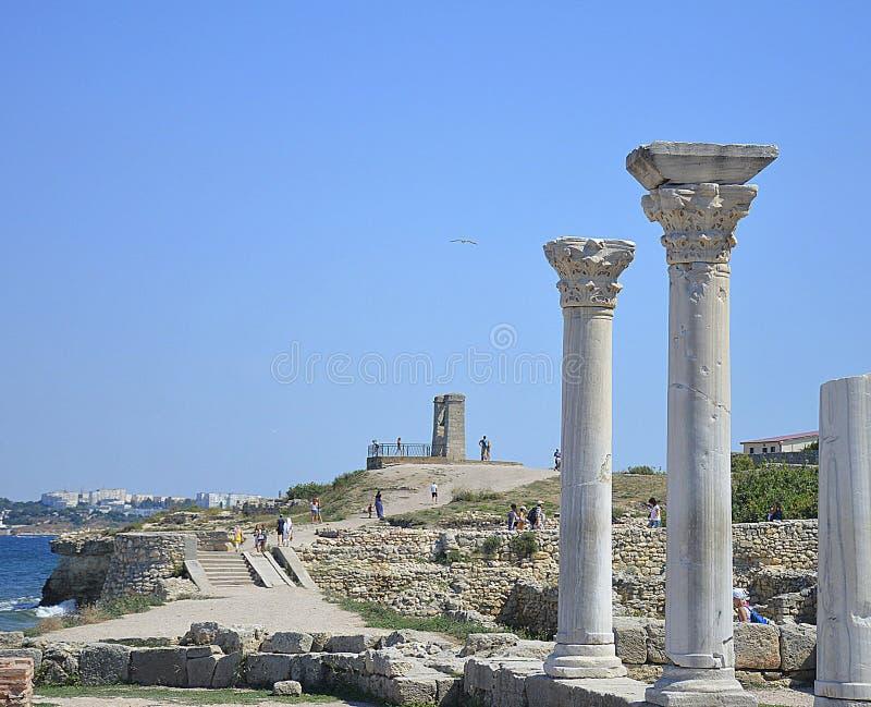 Antikviteten fördärvar av gammalgrekiskastaden av Chersonese royaltyfria foton