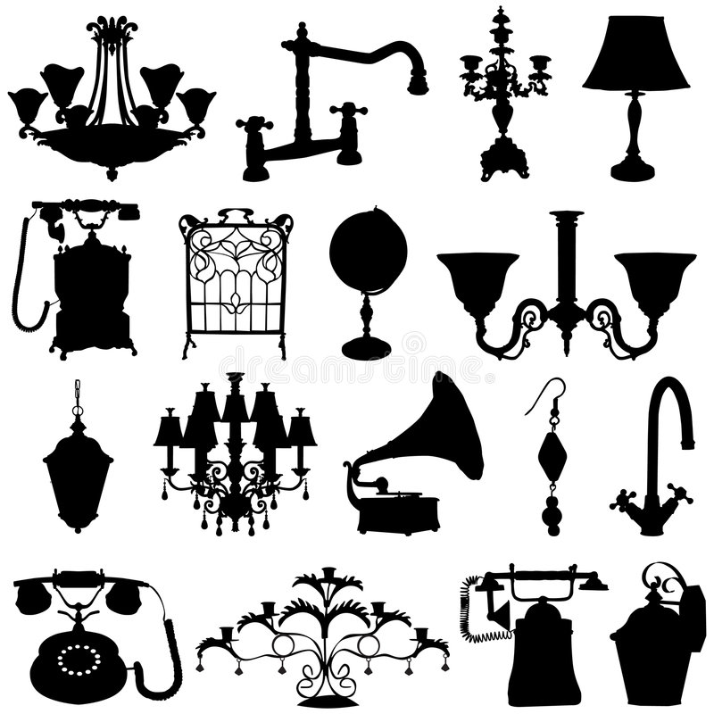 antikviteten objects vektorn stock illustrationer