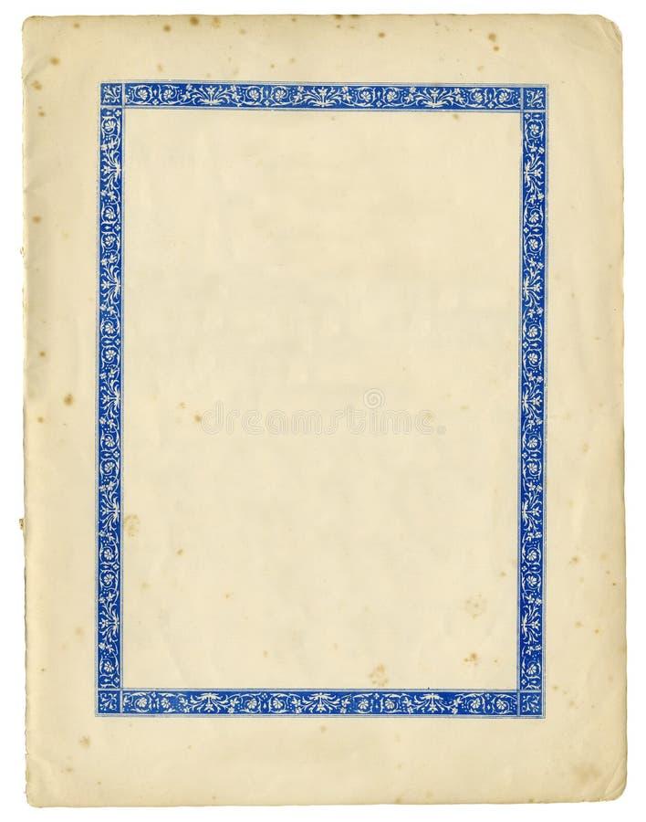 Antikvitetpapper med den dekorativa ramen och sönderrivna kanter royaltyfri foto