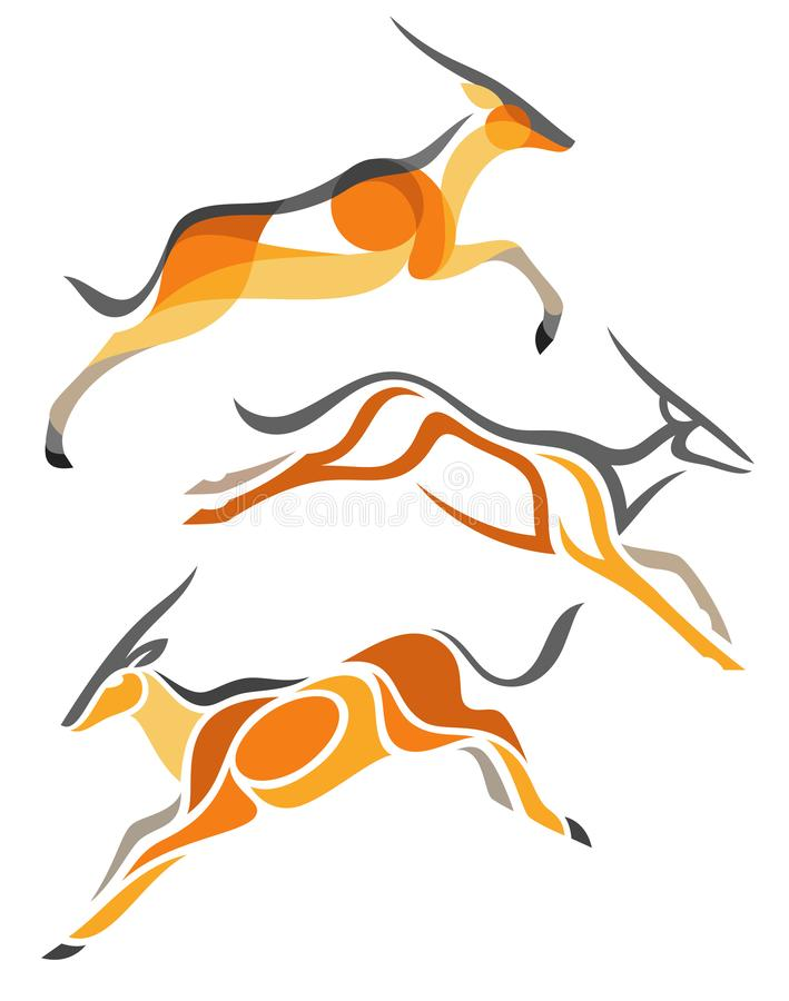 Antilopi stilizzate - eland illustrazione di stock