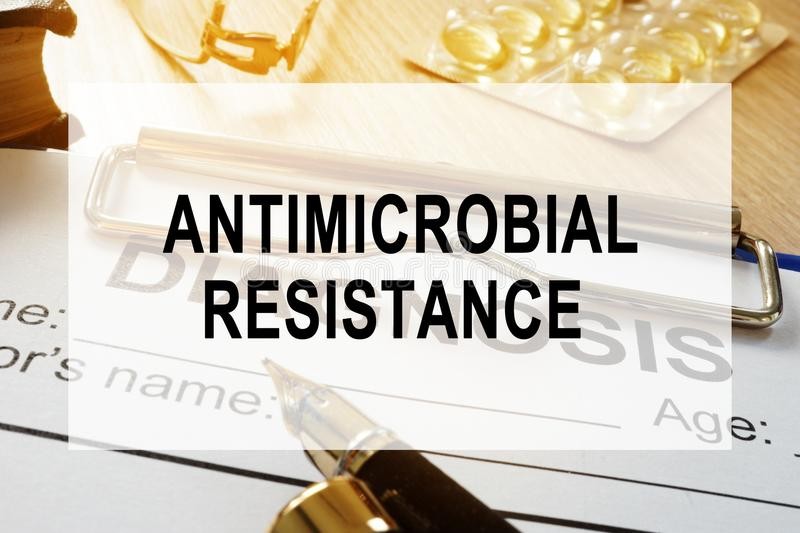 Antimicrobial resistance AMR concept. Desk in a hospital. Antimicrobial resistance AMR concept. Desk in the hospital royalty free stock images