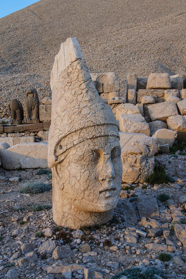 Antiochus I Commagene. Giant head of Antiochus I Commagene, tumulus of Nemrut Dag, Turkey stock photos