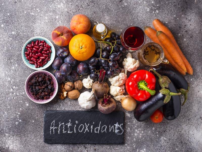 Antioxidantes en productos Consumici?n limpia fotografía de archivo