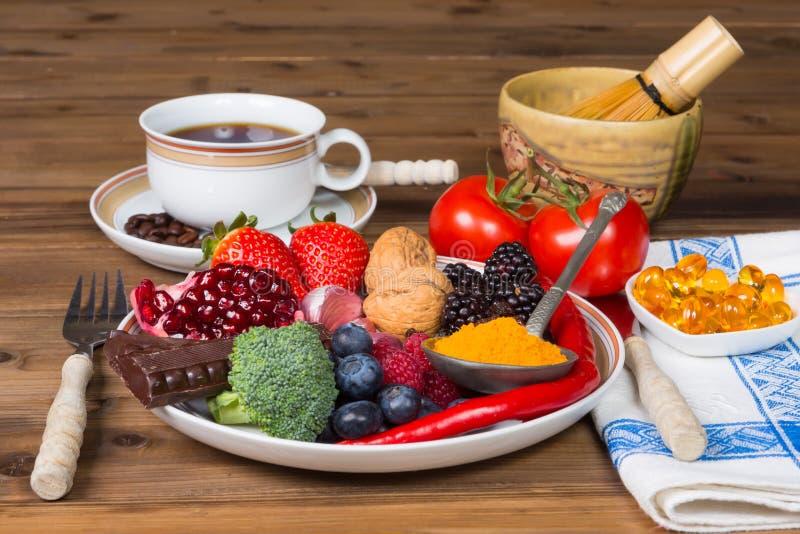 Antioxidants för frukost arkivfoton