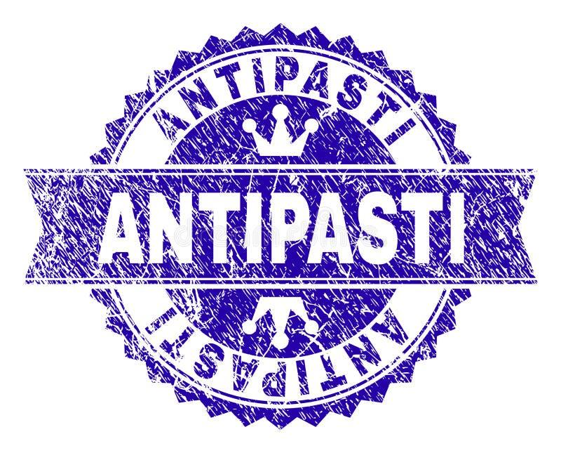 ANTIPASTI текстурированные Grunge штемпелюют уплотнение с лентой иллюстрация штока