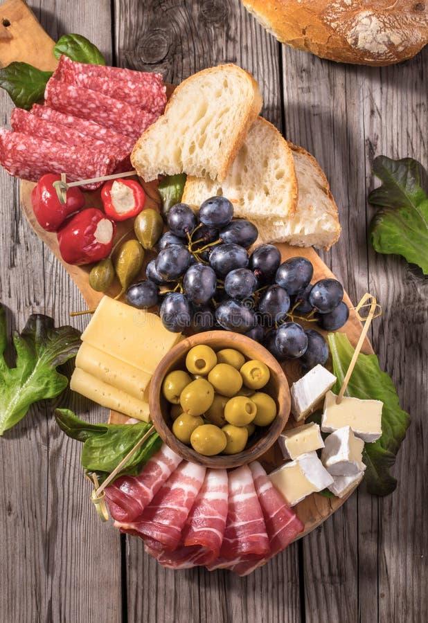 Antipasti snacks above stock photo