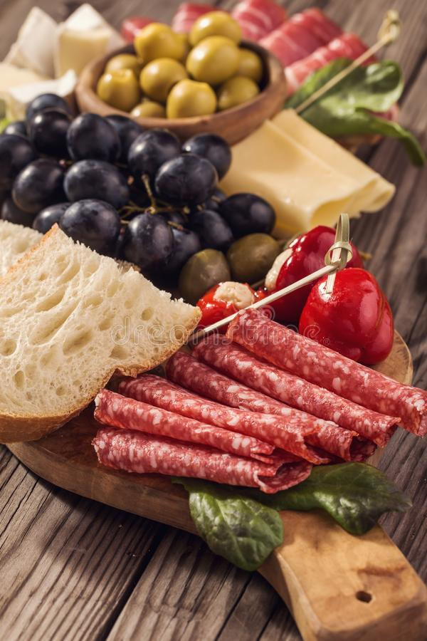 Antipasti snacks closeup stock photo