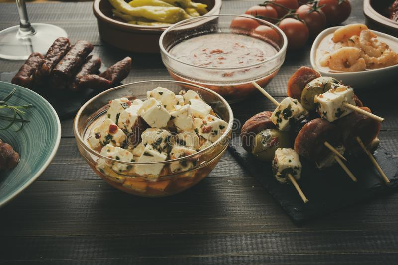 Antipasti or tapas appetizers. Food for new years eve royalty free stock image