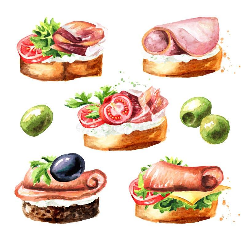 antipasto canape Insieme del panino al prosciutto Illustrazione disegnata a mano dell'acquerello isolata su fondo bianco illustrazione vettoriale