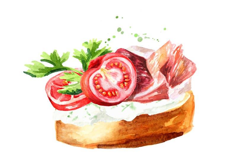 antipasto canape Panino al prosciutto con il pomodoro ciliegia Illustrazione disegnata a mano dell'acquerello isolata su fondo bi royalty illustrazione gratis