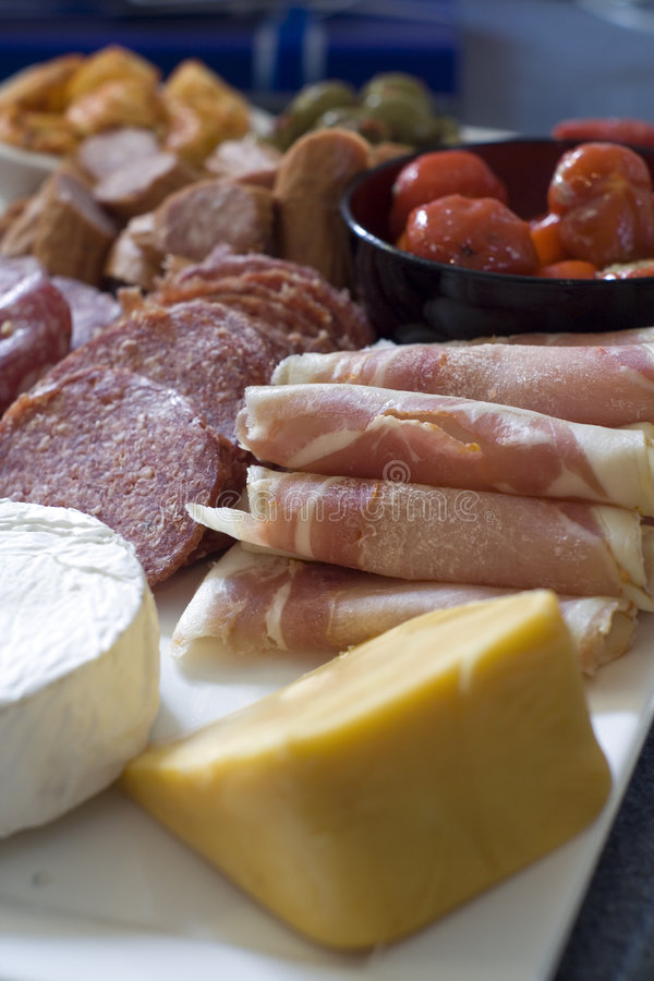 Antipasto; meat and cheese platter stock image