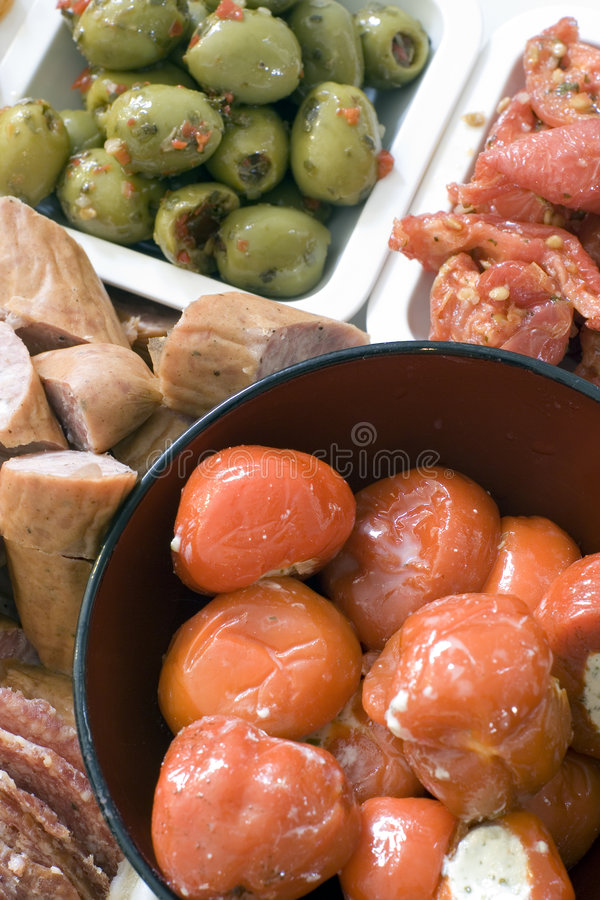 Antipasto; stuffed peppers from above stock photo