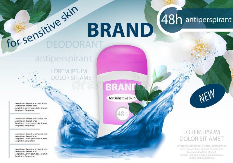 Antiperspirant durable de désodorisant pour la femme avec l'éclaboussure de l'eau et le jasmin de fleurs Design d'emballage ou af illustration libre de droits