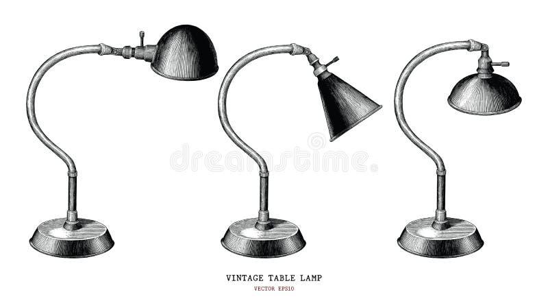 Antiqu da gravura do vintage da tração da mão da coleção do candeeiro de mesa do vintage ilustração stock