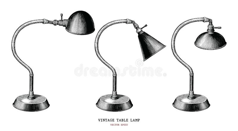 Antiqu del grabado del vintage del drenaje de la mano de la colección de la lámpara de mesa del vintage stock de ilustración