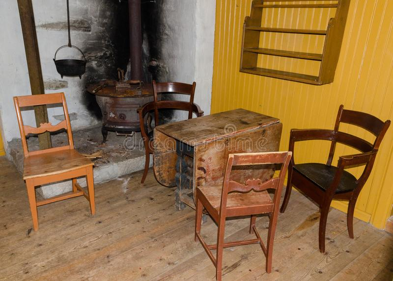 Antiquarian furniture near the corner with a stove stock photography
