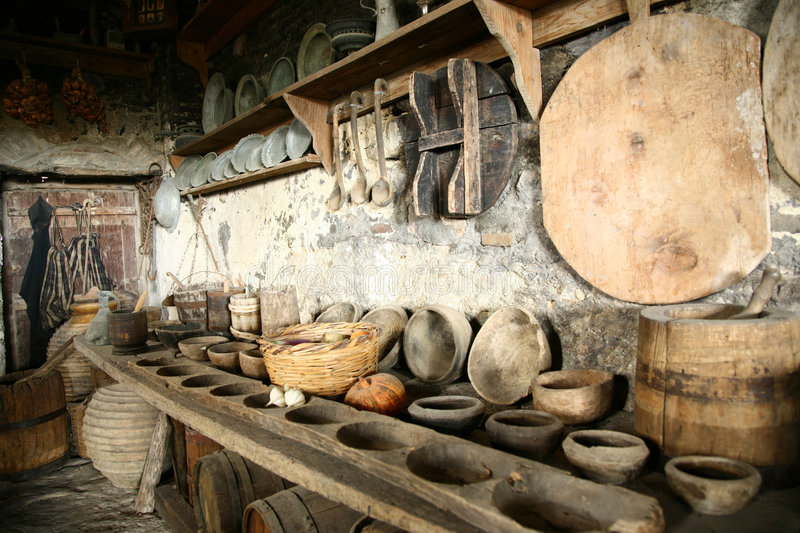 Download Antiquarian Tableware In Old Kitchen. Stock Image - Image: 6025529