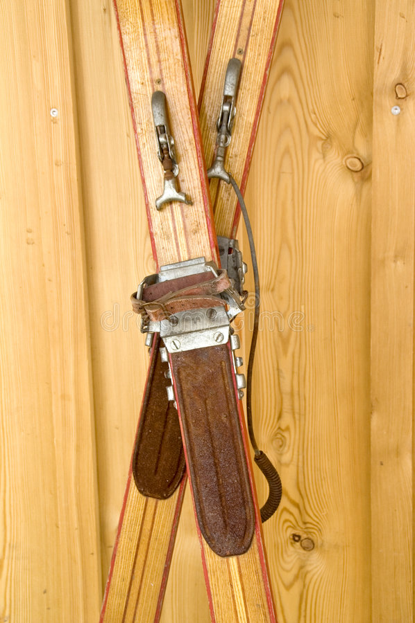 Antiquated skis stock photos