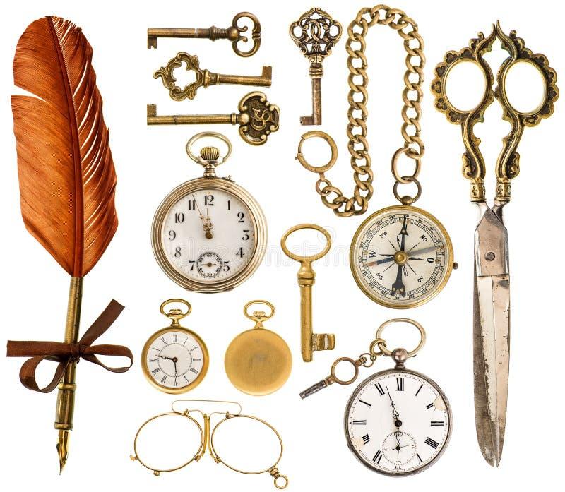 antique вспомогательного оборудования античные ключи, часы, ножницы, компас стоковое изображение rf