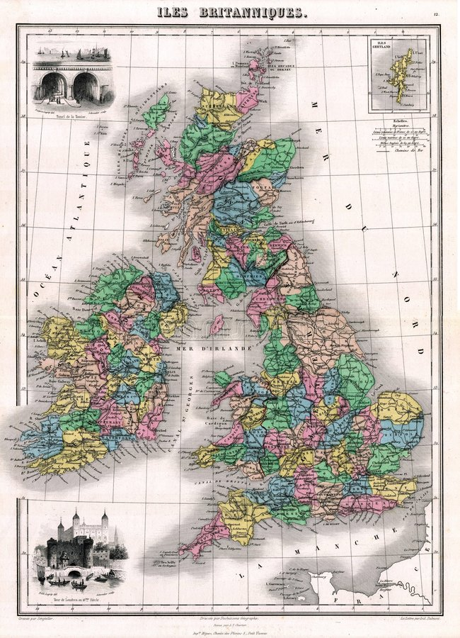 Download Antique 1870 Map Of Great Britain And Ireland Stock Illustration - Image: 881742