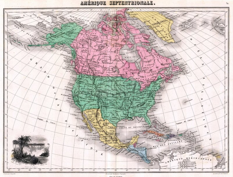 Antique 1870 Map of North America stock illustration